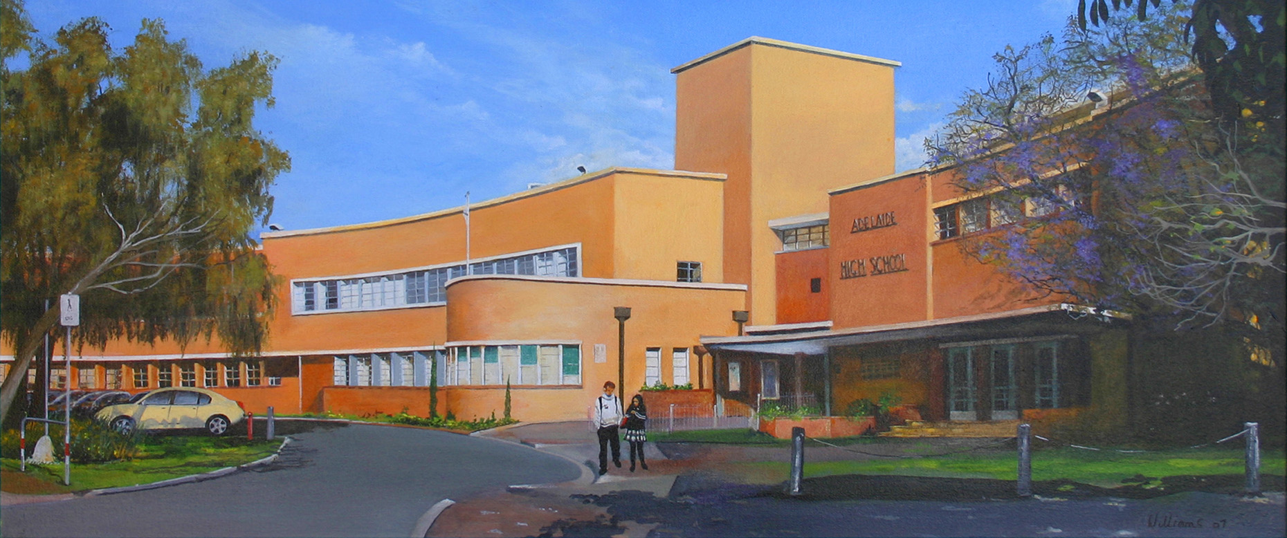 Painting of Adelaide High School with 2 students standing in the foreground.